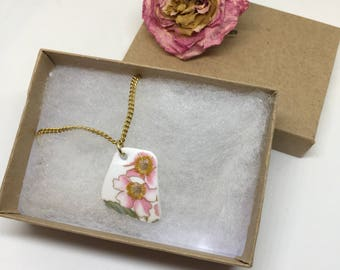 Paragon Country Lane- Vintage China Pendant- Pink Flower Necklace- Handmade Ceramic Necklace- Broken China- Vintage Love- Shabby Chic