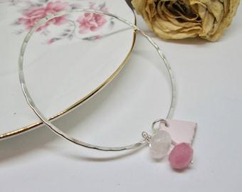 Handmade Bangle- Sterling Silver Hammered Bangle- Pink Vintage China Charm- Quartz Faceted Rondelle- Stacking Textured Silver Bangle