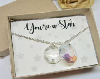 Antique Chandelier- Upcycled Jewellery- Swarovski Crystal- Antique Crystal- Swarovski Necklace- Aurora Borealis- Gift for Her- Silver