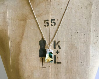 Royal Vale Yellow Rose- Tiny Necklace- Broken China Pendant- Dainty Necklace- Ceramic Jewellery- Handmade Silver Necklace- Gift for Her