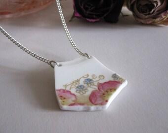 Upcycled China Necklace- Pink Daisy Flower- Broken China Pendant- Vintage Floral Porcelain- Vintage Style Necklace- Broken Ceramic Jewellery