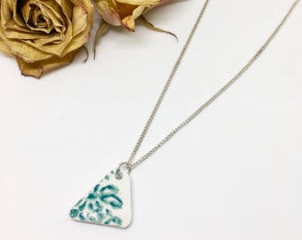 London Sea Pottery- Unique China Pendant- Blue China Necklace- Triangle Necklace- Porcelain Jewellery- Broken China- Handmade- Gift for Her