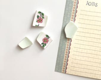 Stocking Filler Gift- China Rose- Green& Pink Floral China- Shabby Chic Home Accessories- Handmade Magnets- Fridge Magnet- New Home Gift