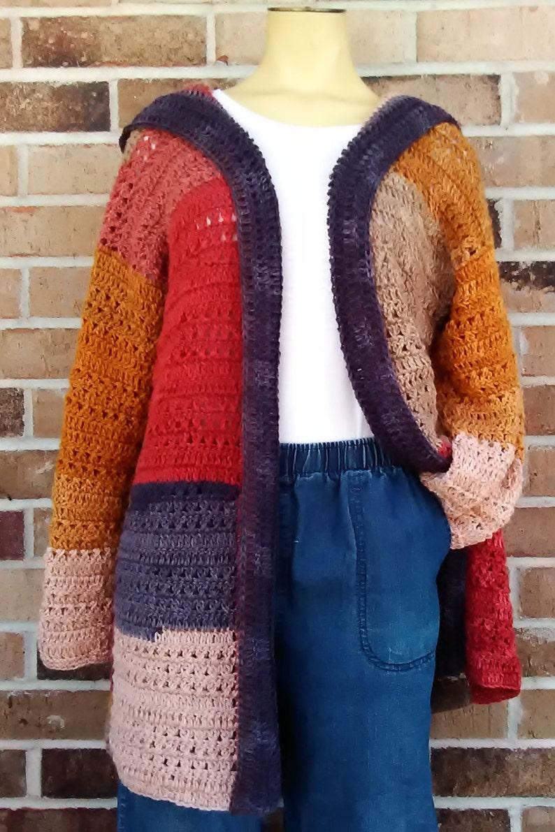 Crochet Cardigan wHood Lightweight color block open front