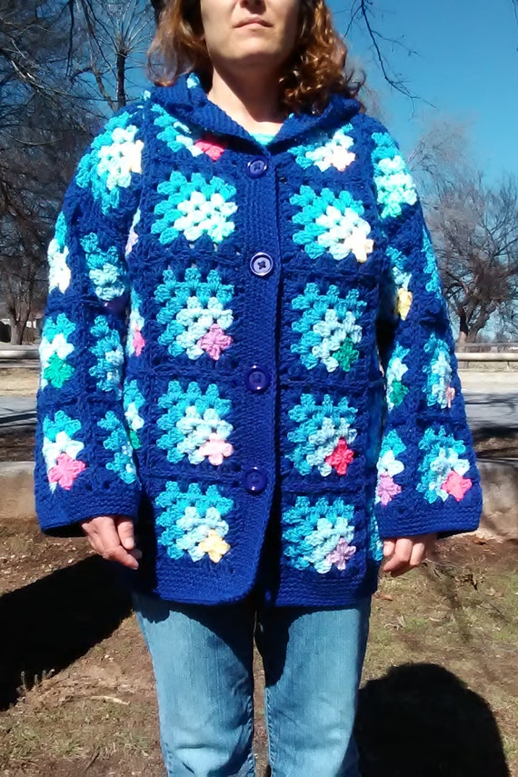 Blue Mitred Corner Granny Square Style Coat with Hood
