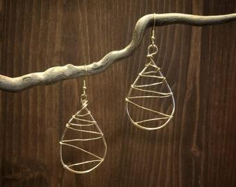 Wire Earrings, Dangle, tear drop, Home Made, Original