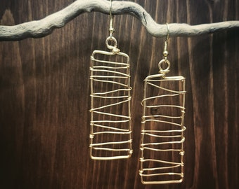 Wire Earrings, Rectangle, Dangle, Home Made, Original