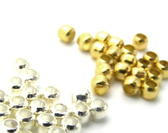 1.5x1.5mm with a 1mm hole G89 Gold Plated Brass Crimp Beads