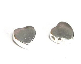 5 mm Small Solid Sterling Silver Hearts 925 Beads - lateral hole (Choice: 2, 5 or 25 beads) - TOP SELLERS