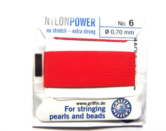 Chaîne en soie rouge fil 0.80 mm pour perles /& perles stringing Griffin Taille 8