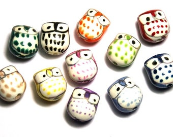 6 Porcelain Hand Painted Light Brown 16x15mm Puppy Dog Beads