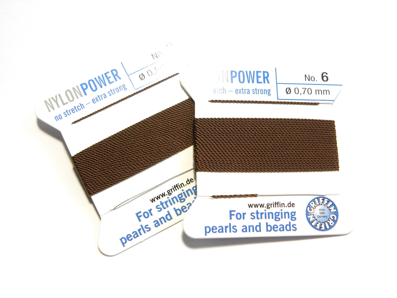 No 5 Size 0.65mm Nylon CORD BEAD STRINGING PEARL THREADING 2m Thread WITH NEEDLE