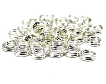 Small 3 mm 25GA Sterling Silver 925 Double Split Rings (10 or 50 pc.)