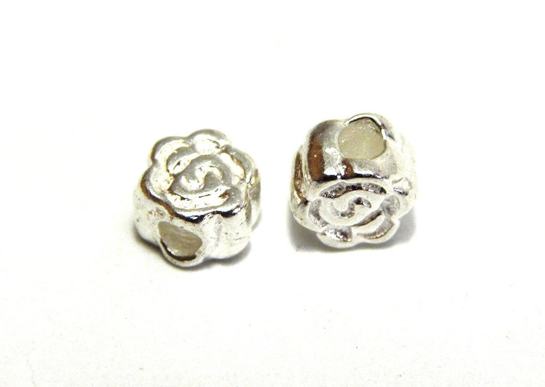 4 mm Mini Solid Sterling Silver 925 Roses 1, 2, 5 or 25 Beads Sterling Silver Flower Beads