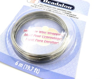 6m (19.7 ft) Beadalon Stainless Steel 316L Round Wrapping Wire 0.8mm/ 20Ga