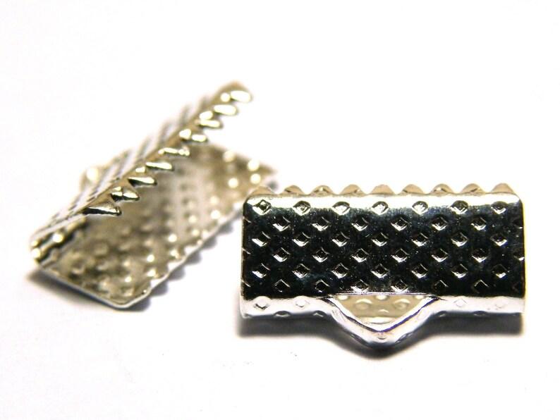 10 or 50 pc. Antique Bronze or Silver 13 mm Ribbon Crimp Ends  Crimp Terminals