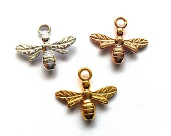 1 pc. Solid Sterling Silver 925 Bee Charm Pendant 15 mm (in SIlver, 18 K rose gold plated and 24 K Yellow gold plated)