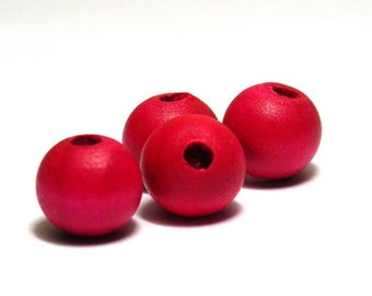 25 pc. Round Wooden Beads 10 mm - Pink