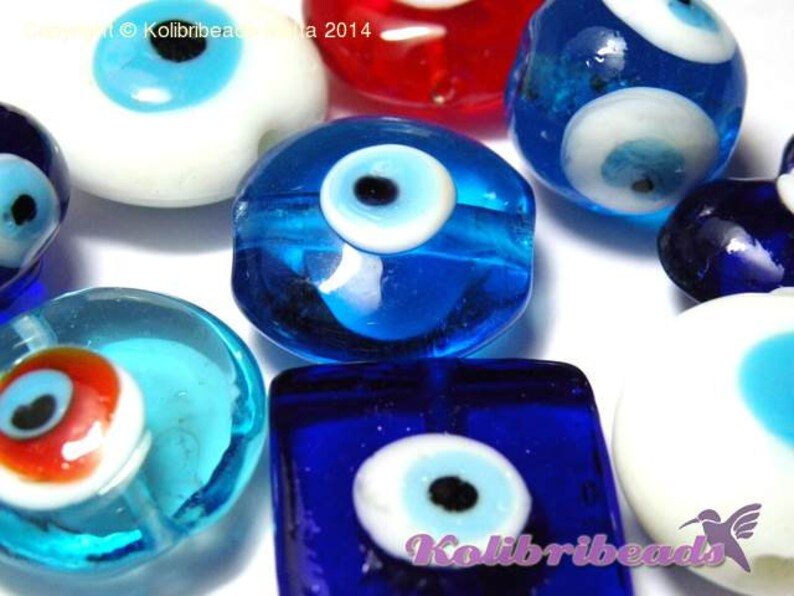 15-20 beads Lampwork Good-luck Glass Beads Turkish Eye Beads mixed Colours /& Shapes 1.6 oz 45 g