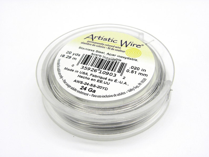18.3 m 20 Yd - Silver Colour Beadalon Hard Stainless Steel Wire 0.5 mm 24 GA Artistic Wire Premium CraftJewellery Wire