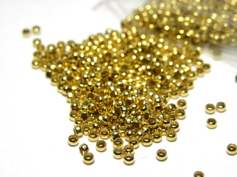 Plated Brass Crimp Beads Silver Platinum 100 pc Rose Gold Std size 2 mm Gold Bronze
