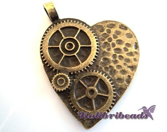 Large Steampunk Cog Wheel Heart Pendant 42 mm - Antique Gold