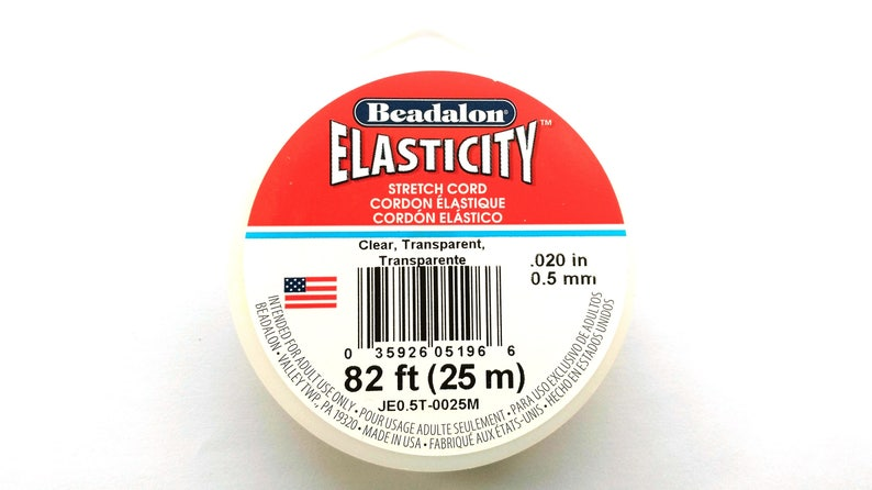 82ft - CLEAR 25 m 0.5 mm .020 inch Spool Beadalon Elasticity Elastic Cord