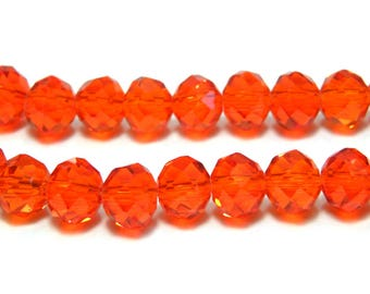 Faceted Glass Briolette Beads Rondelle Beads 8mm - Hyacinth