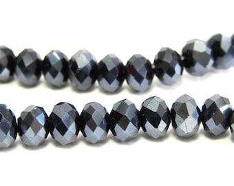 Faceted Glass Briolette Beads, Rondelle Beads 6mm - Metallic Gunmetal
