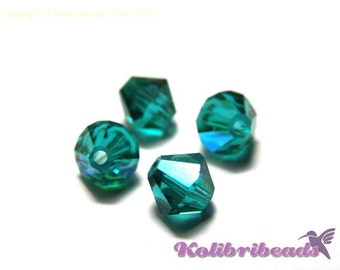 Czech Crystal Bicones 6 mm - Indicolite AB