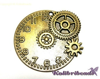 Large Steampunk Clock Cog Wheel Pendant 48 mm - Antique Gold