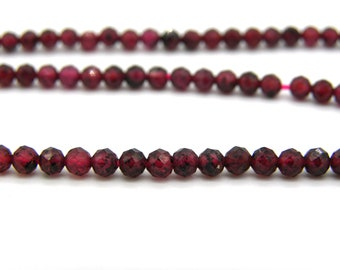 3 mm Mini Round Faceted Natural Garnet Beads, Tiny Real Gemstone Seed Beads - 1 Strand (145 Beads) or 40 Beads