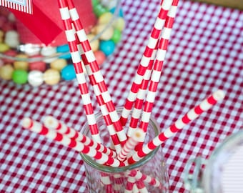 Lot of 25 straws two-tone red / white wedding |esprit guinguette|