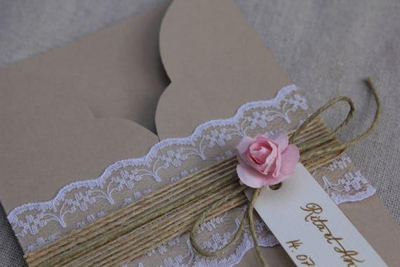 Faire Part Pochette Gamme Romantique Chic En Toile De Jute