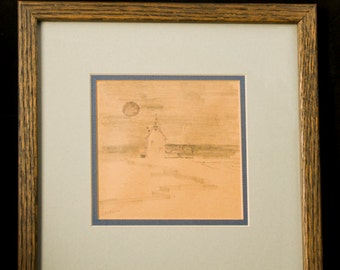 """Primitive """"Country Barn with Moon"""" Pencil Sketch Signed by Virginia Artist JOHN S. LOVERRO"""
