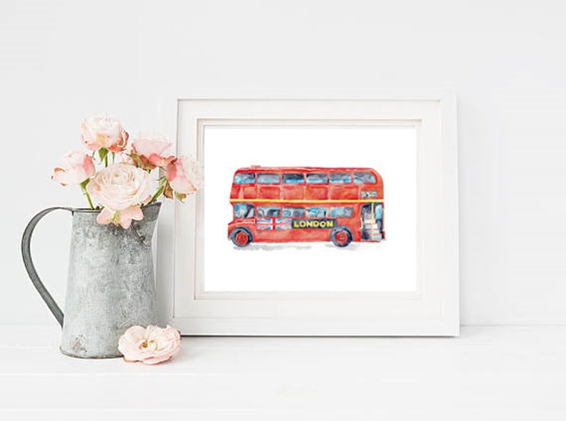 Double-decker Bus London print Red Kids room wall decor painting watercolour ink Art Illustration boy girl car vehicle Nursery Double Decker
