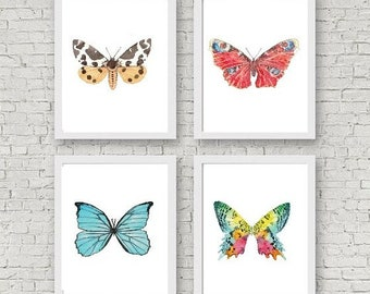 Set of 4 butterfly print painting watercolour bright colorful Wall Art Bug Biology Insect Tiger Rainbow Illustration Print Nursery moth