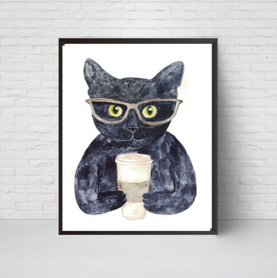 BLack cat wine 11x14  art PRINT reproduction of painting animals new gift
