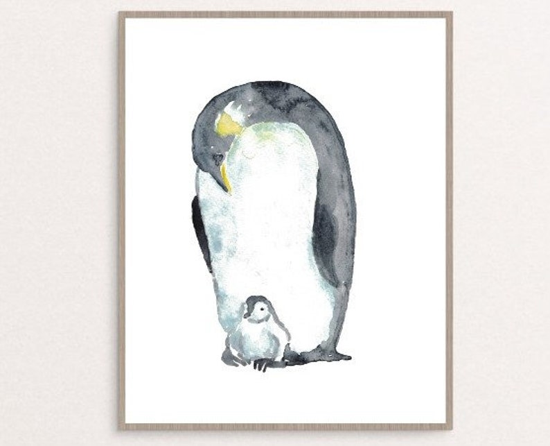 Penguin bird watercolor painting print art animal illustration nothern life nautical ocean wall poster decor modern north pole father mother
