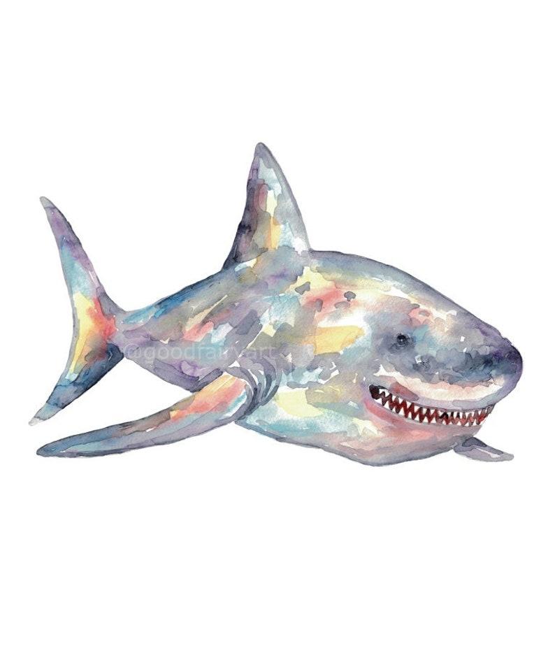 Set of 3 shark watercolor painting print art whale fish animal illustration sea life whale nautical ocean coastal wall poster decor modern