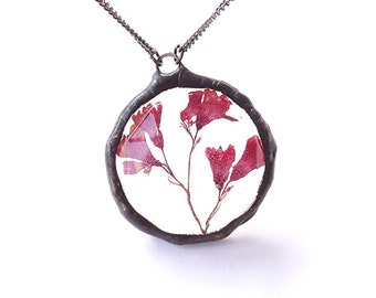 Heuchera pendant, resin necklace, pressed flower, caught in resin, real pink flower, rustic jewelry, real flower jewel, nature preserved