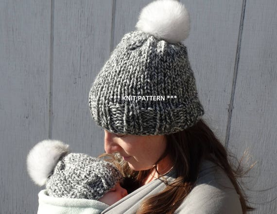 mommy and me knit hat PATTERN knit PATTERN fitted beanie | Etsy