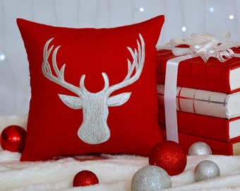 30%OFF Valentine Pillow,Reindeer Valentine Decoration,Cottage Decor,Home Decor,Valentine Gift Decorative Pillow in All Sizes INSERT INCLUDED