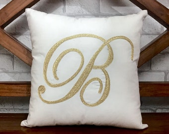 "50% OFF Sale Initial Letter ""B"" Pillow, Decorative Throw Personalized Dorm Decor, Housewarming, Wedding, Baby Birthday Gift"