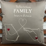 30% OFF The Love Between FAMILY Knows No Distance, Distance Love,Grandparents Gift, Gifts, Custom Map Gift, Pillow Form Available.