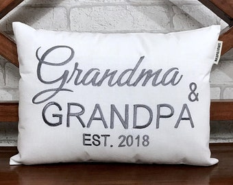 50% OFF sale Grandparents Pillow, READY To Ship, Announcement Established Date, Grandma Grandpa Gift Anniversary Love Gift pillow from
