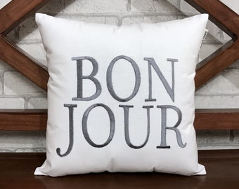 50% OFF sale BonJour, Good morning, Hello READY To Ship Pillow Calligraphy Pillow Guest, Kids, girls Room Decor, Pillow Form Available