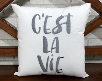 50% OFF sale C'est La Vie, Its My Life quote Hand Embroidery Pillow, READY To Ship, Calligraphy Pillow Kids Room Decor Dorm Decor