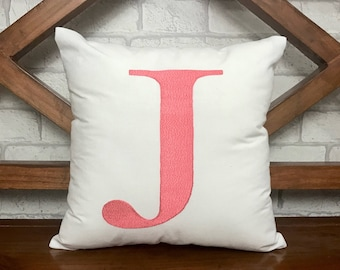 30% SALE Initial Letter Pillow Decorative Throw Personalized Custom Housewarming Baby Birthday Gift All Sizes Insert Included