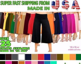 340cd3b65e2a6 Flowy and Comfy Women s Capri Gaucho Pants Plus Sizes.